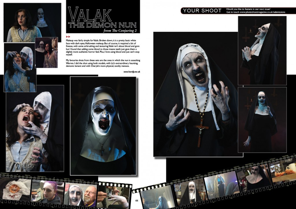 Models:   Elizabeth Stanton (ghostly Valak) Cheryle Yeo (bog-teeth Valak) Claire Jones (Lorraine Warren) Makeup, Photography, Lighting, Editing:  Rick Jones (Horrify Me)