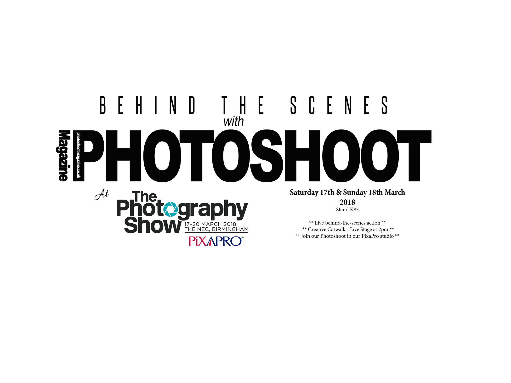 Behind the scenes with PHOTOSHOOT Magazine at The Photography Show 2018